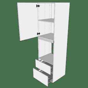 Ekstra højt indbygningsskab til ovn H: 214,4 cm D: 60,0 cm - 1 låge & 2 skuffer deludtræk/softluk