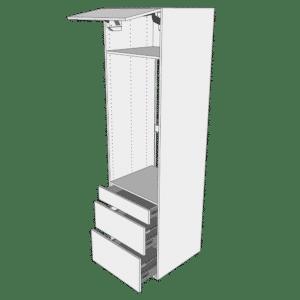 Ekstra højt indbygningsskab til ovn H: 214,4 cm D: 60,0 cm - 1 låge & 3 skuffer deludtræk/softluk
