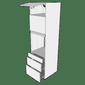 Ekstra højt indbygningsskab til ovn H: 214,4 cm D: 60,0 cm - 2 låger & 3 skuffer deludtræk/softluk