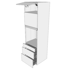 Ekstra højt indbygningsskab til ovn H: 214,4 cm D: 60,0 cm - 2 låger & 3 skuffer fuldudtræk/softluk